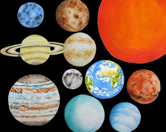 Planets clipart, Solar system clipart, Watercolor planets clipart, Watercolor solar system, Earth watercolor clipart, Saturn clipart
