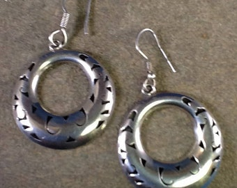 Sterling Silver Dangle Earrings~Pierced Shadow Box~Mexican Silver~Taxco Mexico~925 Silver~Hollow Cut Out Circle Earrings~Everyday Earrings~