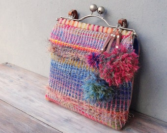 Rainbow Bohemian Bag, Hand Knitted, Colorful Pompoms, Leather Straps, Kiss-lock, Boho
