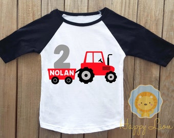 Red Tractor birthday shirt, tractor shirt, birthday shirt, farm birthday shirt, farm birthday party, tractor birthday party, red tractor