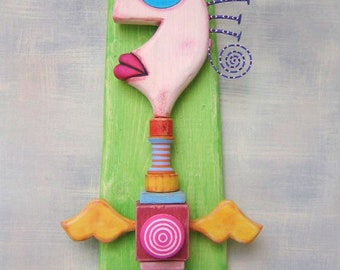 Angel Totem 2, Original Found Object Wall Sculpture, Angel Wall Art, Wood Carving, Mixed Media Art, by Fig Jam Studio