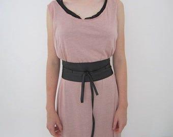 Black Soft Leather Belt , Women Leather Wrap Tie Belt