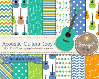 50% OFF Guitar Boy Digital Paper and Clipart, Acoustic Music, Musical Notes for Birthday, wedding, School, Scrapbooking Paper Party Theme