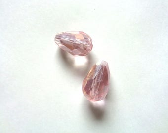 """""""2 large drops 15 X 10 mm, pink, translucent faceted glass - 2 translucent pink beads, faceted glass drop, 0.59 x 0.39"""""""