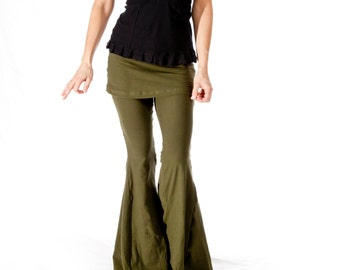 Womens Yoga Pants, Flare bellbottom pants with attached skirt, SASSY PANTS