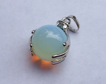 Opalite Healing Hands Pendant, Necklace (reiki, massage therapy, doula, healer)