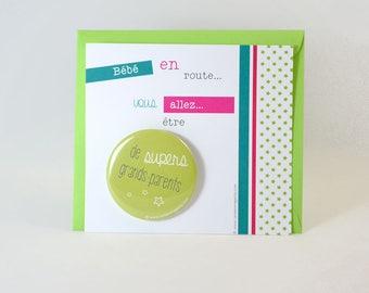 Grandparents - pregnancy announcement badge card