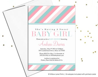 Digital baby shower invitations for girls baby shower invite - pink and mint - printable - stylish stripes - WLP00775
