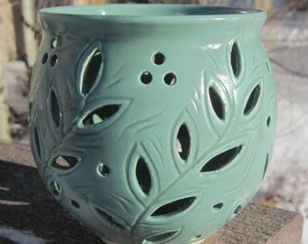 Luminary with Leaves - Hand Carved Pottery