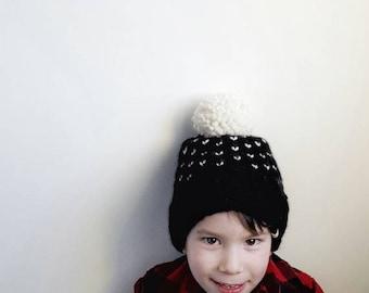 Hand Knit FAIR ISLE POM Toque //  Baby Hats // Kid Hats // Knit Hats // Knit Toque // Heart Toque // Baby Girl // Baby Boy // Pom Toque //