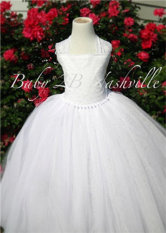 White Lace Flower Girl Dress, Wedding Flower Girl  Dress, White Lace Tutu Dress,Wedding Flower Girl Tutu Dress All Sizes Girls