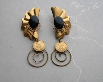 vintage Panama coin earrings . ornate wirework dangle earrings, pierced ears . novelty Balboa coins, large fan earrings