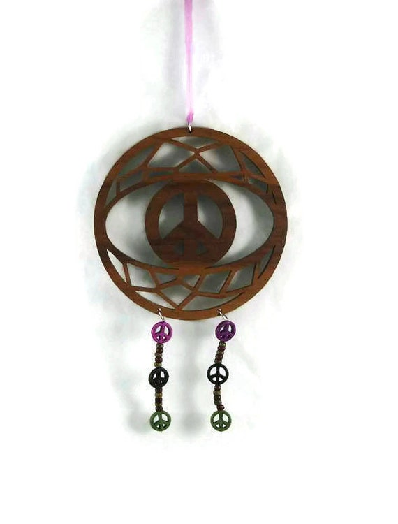 Peace Symbol Dreamcatcher Handmade From Walnut Wood With Multi-Colored Peace Beads