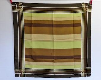 "Vintage Italian Mod scarf geometric green green beige 65cm x 68cm / 25.5"" x 26.7"""