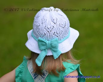 Knitting Pattern - Lily Lace Panama Hat (Baby and Child sizes)