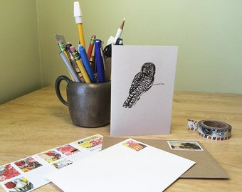 Owl notecard. Nature note card. Recycled card with owl illustration and facts. Correspondence card.