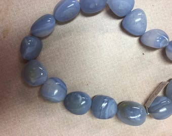 Chalcedony nugget necklace with sterling toggle clasp.