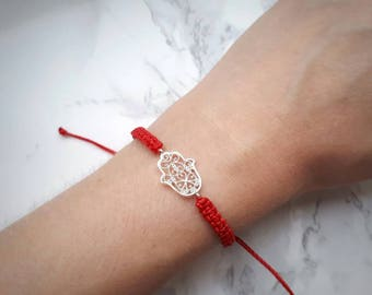 Red String Bracelet, Hamsa Bracelet, Red Bracelets for Women, Protection Bracelet, Macrame Bracelet, Good Luck Bracelet, Men Women