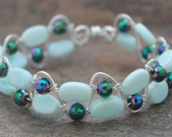 Handmade Silver Wire Wrapped Peruvian Opal and Crystal Bracelet