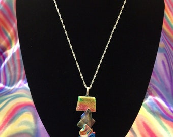 Dichroic glass jewellery pendant top