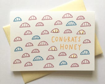 Congrats Honey! Hand Stitched Greeting Card. Cards for Creatives.