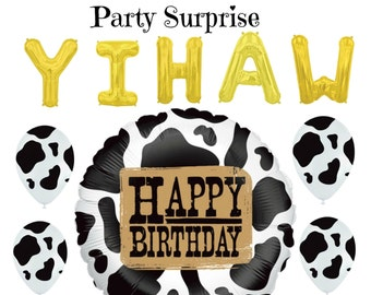 Western Cow Print Birthday Party Balloons Cowboy Cowgirl Black Cowprint Farm Zoo Circus Rodeo Birthday Balloons