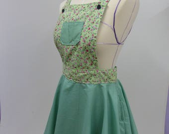 Casual Day Dress Woman's Pinafore in Floral Mint and Green.