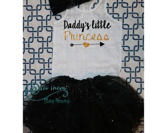 Daddy's little princess Shirt tank top  Gold Baby Girl Clothes Baby Girl Shirt  Baby Clothes Baby Gift White And Gold fathers day gift