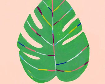 Color Is Life/Monstera PINK leaf by Sarah Walsh