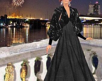 Women's  Sequin Halter  Dress with Sequin Shrug  Made To Measurement