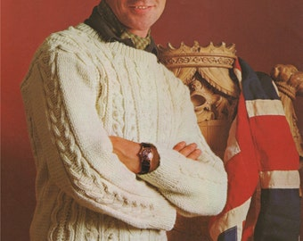 Mens Aran Sweater PDF Knitting Pattern : Mans 38, 40 and 42 inch chest . Aran Jumper . Instant Digital Download