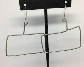 Rectangle hammered hoops, funky, boho, gift