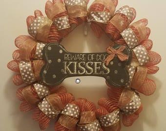Dog Lovers Wreath - Dog Kisses - Deco Mesh & Jute