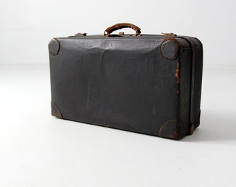 1930s black leather suitcase, vintage luggage, stacking luggage
