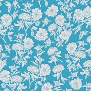 Blue and White Vintage Style Floral Fabric - Valorie Wells Nouvella Collection - cotton Fabric by the yard
