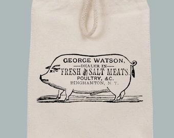 Vintage Pig Fresh Meats Ad Lunch Bag Style Tote with Velcro closure and Rope Handle