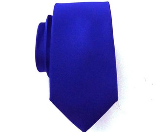 Mens Ties Royal Blue Ultramarine Blue Skinny Silk Necktie With *FREE* Matching Pocket Square Set