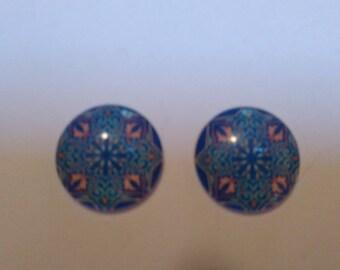 set of 2 cabochons glass 25mm kaleidoscope