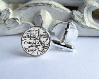 Chicago Map Cufflinks, Elegant Mens Cuff Links