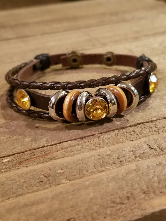 Rustic Leather Metal Rings Yellow Gemstones Wrap Unique Bracelet Native American Style Fashion Hippie Boho Earth (B43)