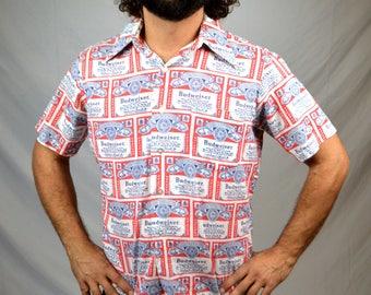 Vintage 1970s 70s Xanadu Budweiser Beer Button Up Shirt