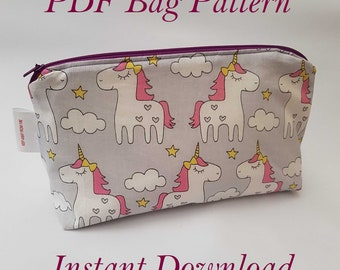 PDF Sewing Pattern pyramid bag,  Make Up Bag or Storage Zip Up Bag, Pencil Case sewing pattern LARGE and SMALL