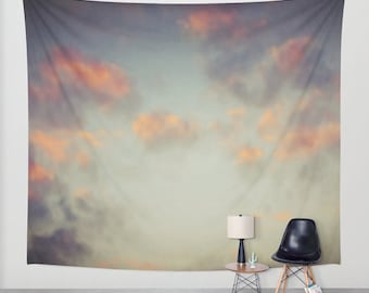 Sunset Sky Wall Tapestry, Cloud Large Size Wall Art, Modern Decor, Nature, Wedding Gift, Outdoor, Garden, Orange Grey Tapestry, Dorm Art