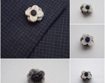 Felt lapel pin in triple layered beige wool//mens flower lapel pin//wedding boutonniere//Mens Lapel Flower//Men's Lapel Pin//Gifts for Men