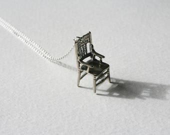 Sterling Silver Wishing Chair Charm Necklace