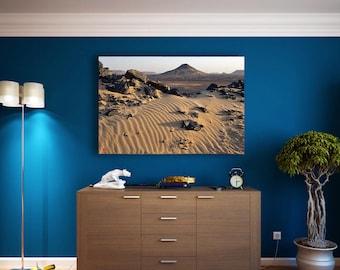 Egypt, Black Desert, Photo Print on Canvas