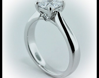 Princess Solitaire Moissanite Engagement Ring