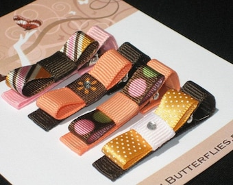 Autumn Orange, Pink, Brown Boutique Hair Clips - Buy 3 Items, Get 1 Free