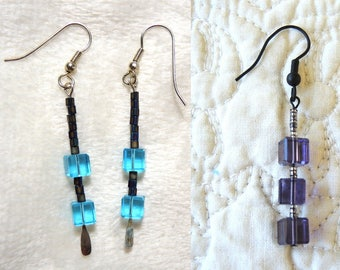 Color Choice - Cube Bead and Seed Bead Pierced Dangle Earrings