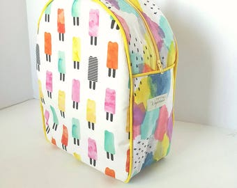 Watercolor Popsicle Kids Backpack / Childrens Backpack / Toddler Backpack / Preschool Backpack / Daycare Backpack / Kindergarten /Diaper Bag